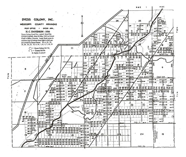 The Dyess Colony is shown divided into plots in this map created in 1936.