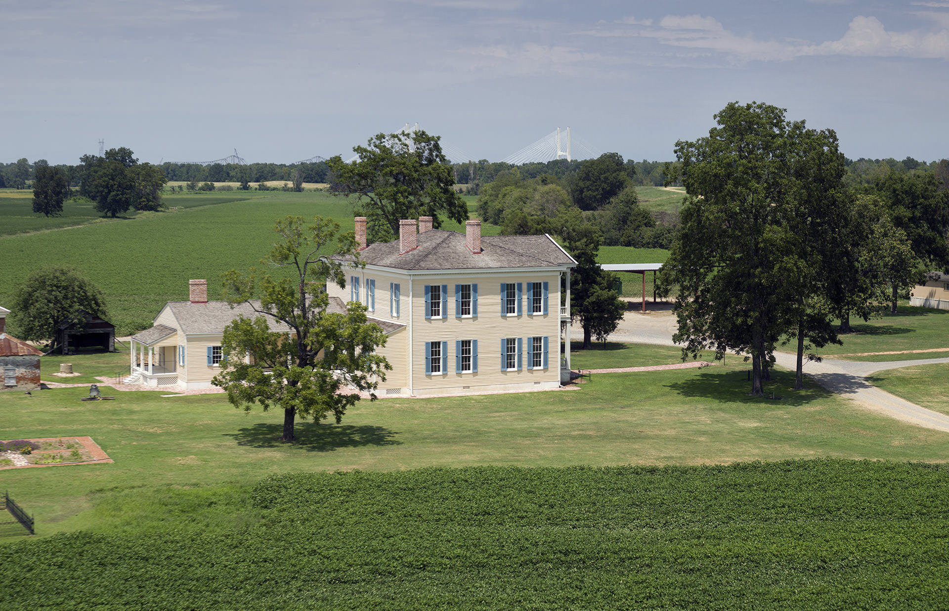 Lakeport Plantation near Lake Village is the only remaining Arkansas antebellum plantation home on the Mississippi River.  Near the top of this image, you can see the Greenville Bridge which opened in 2010.